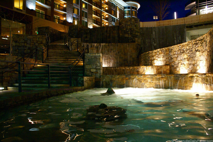 A fountain in downtown Greenville, SC.  This photo was taken by Denton Harryman and posted at GreenvilleDailyPhoto.com on 2/7/2010.