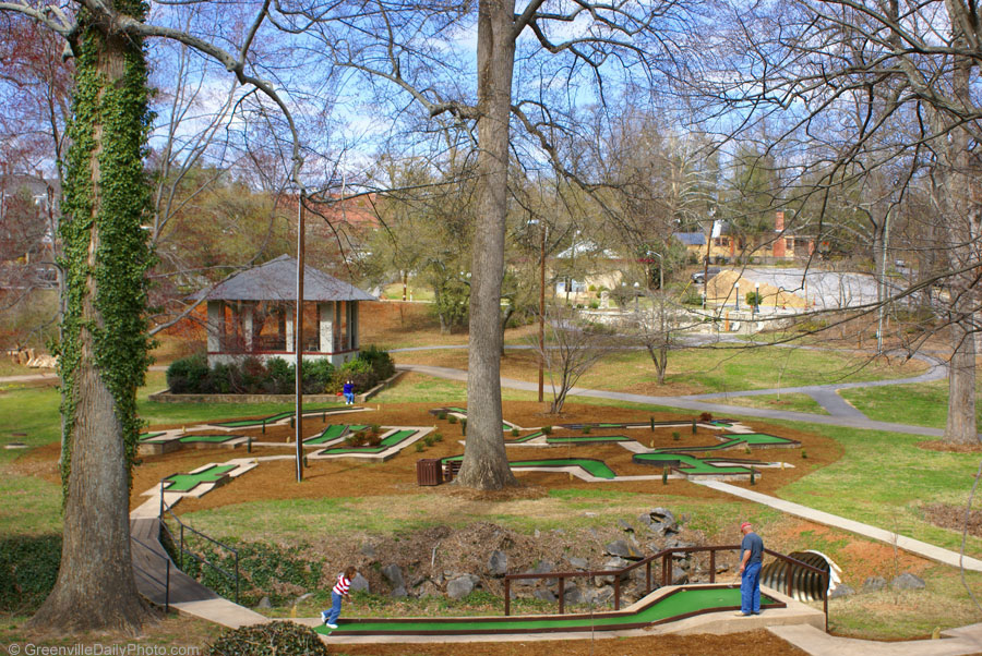 Miniature golf at McPherson Park in downtown Greenville, SC.  This photo was taken by Denton Harryman and posted at GreenvilleDailyPhoto.com on 3/25/2010.