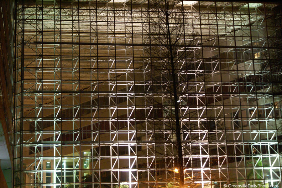 Windows at the Hyatt in downtown Greenville, SC.  This photo was taken by Denton Harryman and posted at GreenvilleDailyPhoto.com on 3/28/2010.