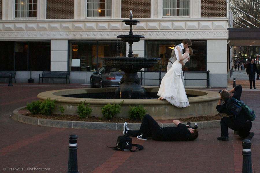 A well photographed kiss as seen in Greenville, SC.  This photo was taken by Denton Harryman and posted at GreenvilleDailyPhoto.com on 3/30/2010.