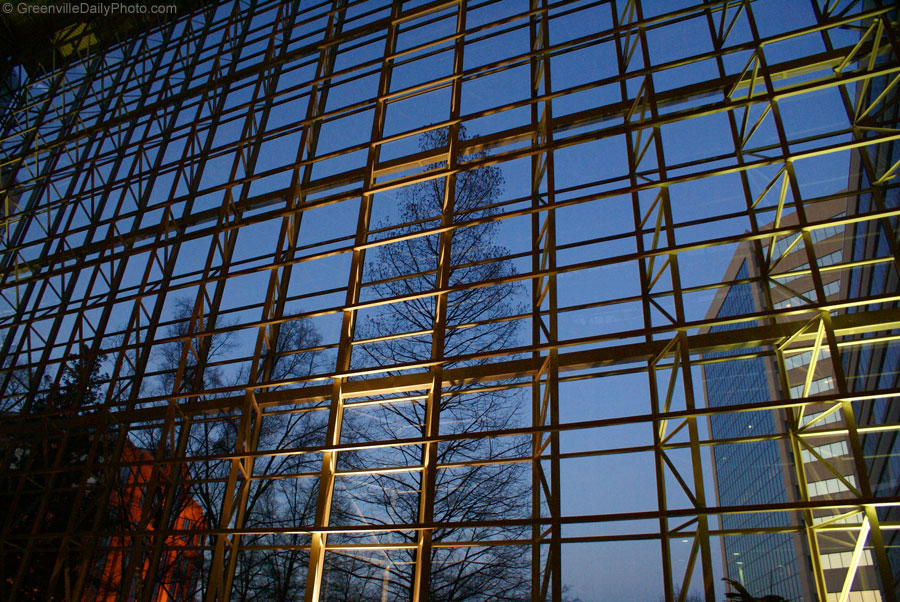 The windows at the Hyatt in downtown Greenville, SC.  This photo was taken by Denton Harryman and posted at GreenvilleDailyPhoto.com on 3/27/2010.