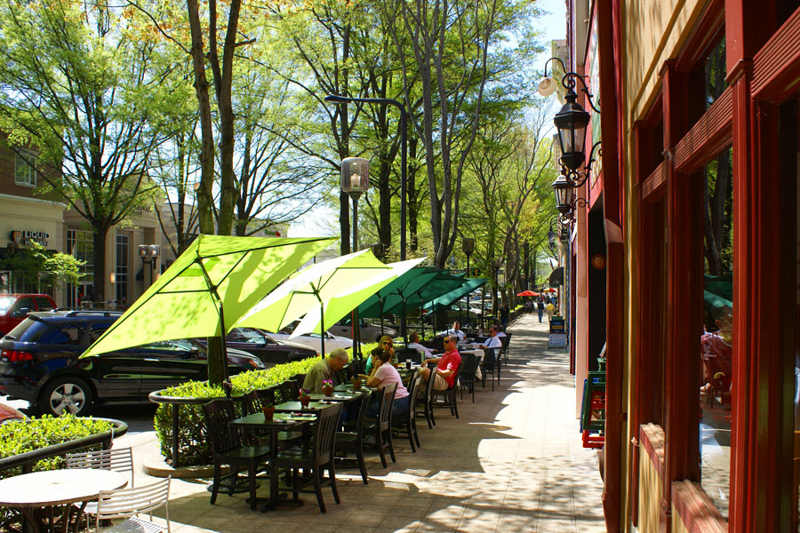 Umbrellas on Main Street in downtown Greenville, SC.