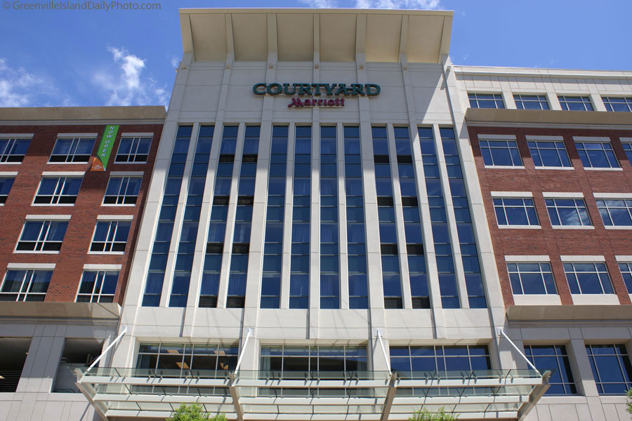 The Courtyard by Marriott in downtown Greenville, SC.  This photo was taken by Denton Harryman and posted at GreenvilleDailyPhoto.com on 5/5/2010.