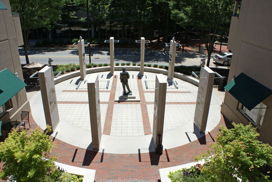 The Max Heller Legacy Plaza in downtown Greenville, SC.  This photo was taken by Denton Harryman and posted at GreenvilleDailyPhoto.com on 6/14/2010.
