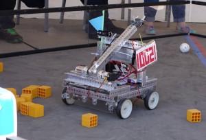 A robot at work organizing blocks